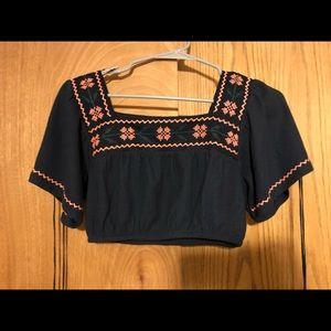 Folk fluro stitch crop top